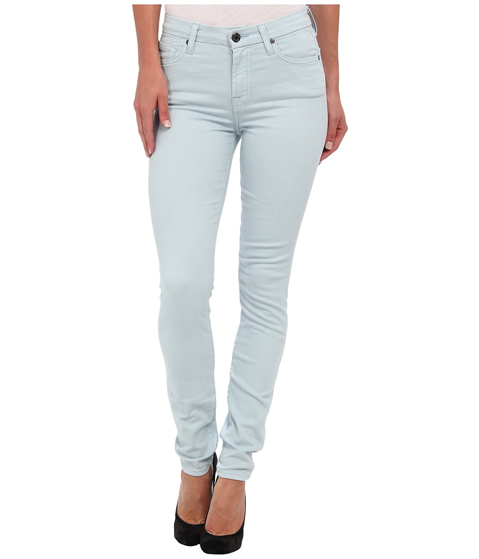 7 For All Mankind - Mid Rise Skinny w/ Contour Waistband in Brushed Sateen (Ice Blue) Women