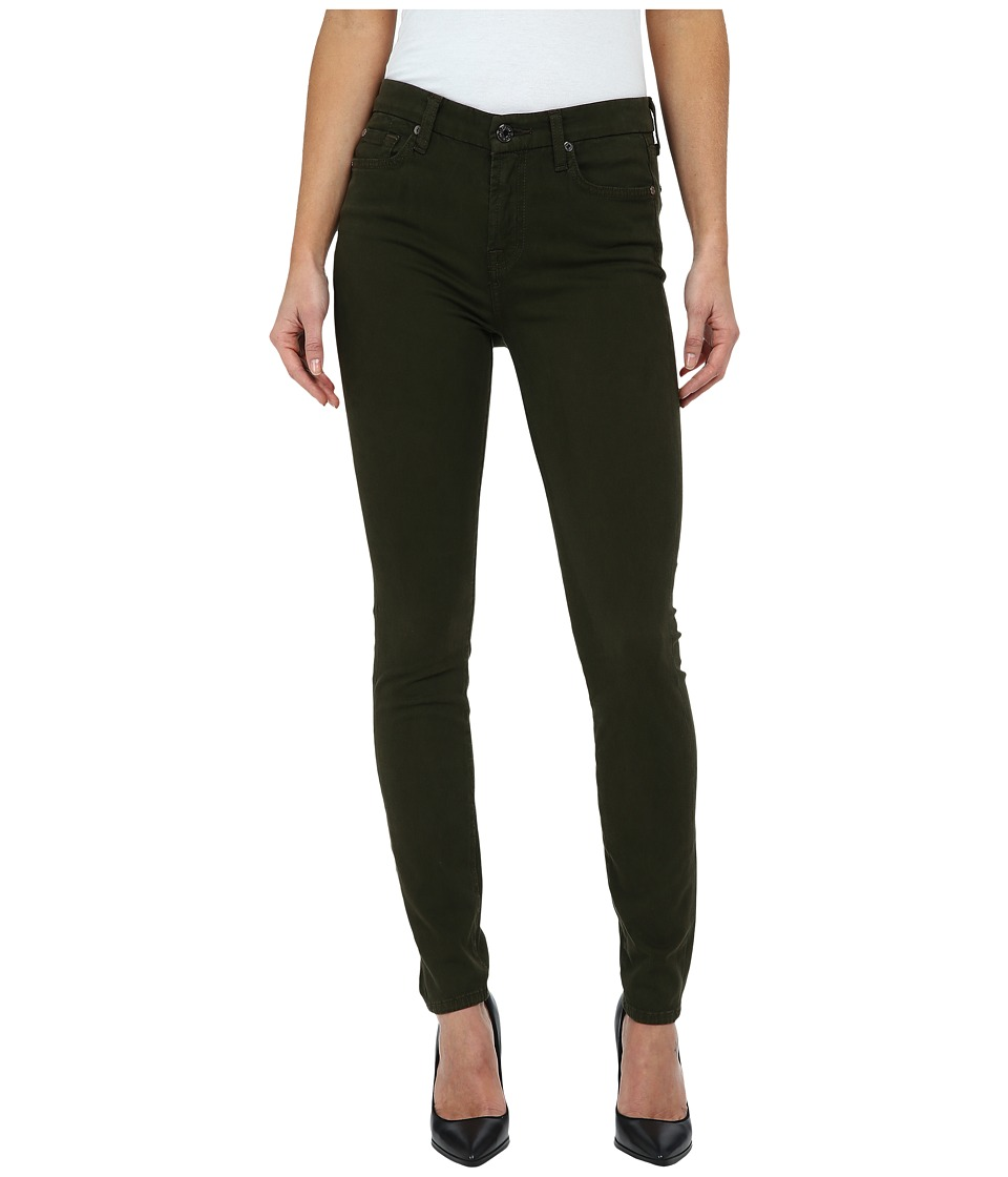 7 For All Mankind - Mid Rise Skinny w/ Contour Waistband in Brushed Sateen (Hunter Green) Women's Jeans