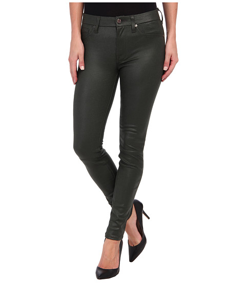 7 For All Mankind - Crackle Leather-Like Knee Seam Skinny w/ Contour Waistband in Forest Green Crackle (Forest Green Crackle) Women