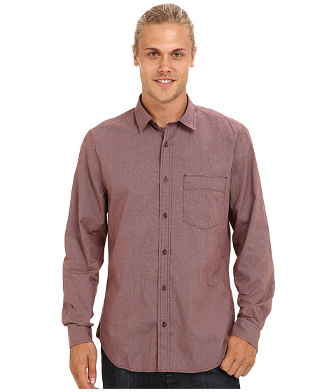 7 For All Mankind - Mini Check Shirt (Crimson) Men's Long Sleeve Button Up
