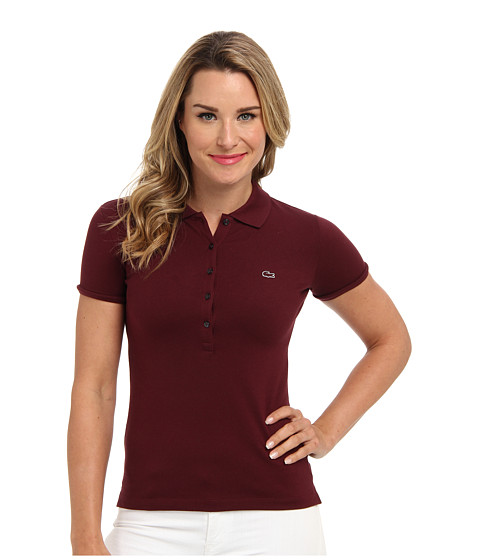 Lacoste - S/S 5 Button Stretch Pique Polo (Griottine Cherry) Women's Short Sleeve Knit