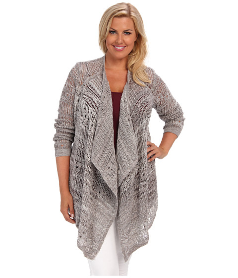 DKNY Jeans - Plus Size Open Stitch Cardigan (Zinc) Women's Sweater