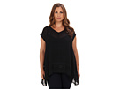 DKNY Jeans Plus Size Embellished Poly Georgette Top (Noir)
