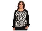 DKNY Jeans Plus Size Zebra Sweatshirt Pullover (Noir)