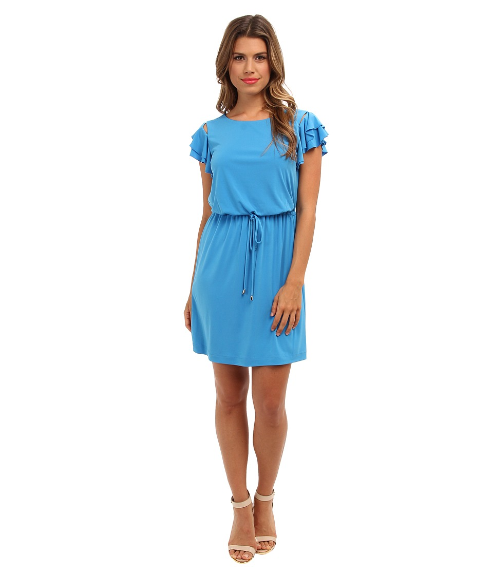 Jessica Simpson - Dress w/ Elastic Waistband w/ Self Tie and Buttoned Flared Tiered Short Sleeves (Blue) Women's Dress