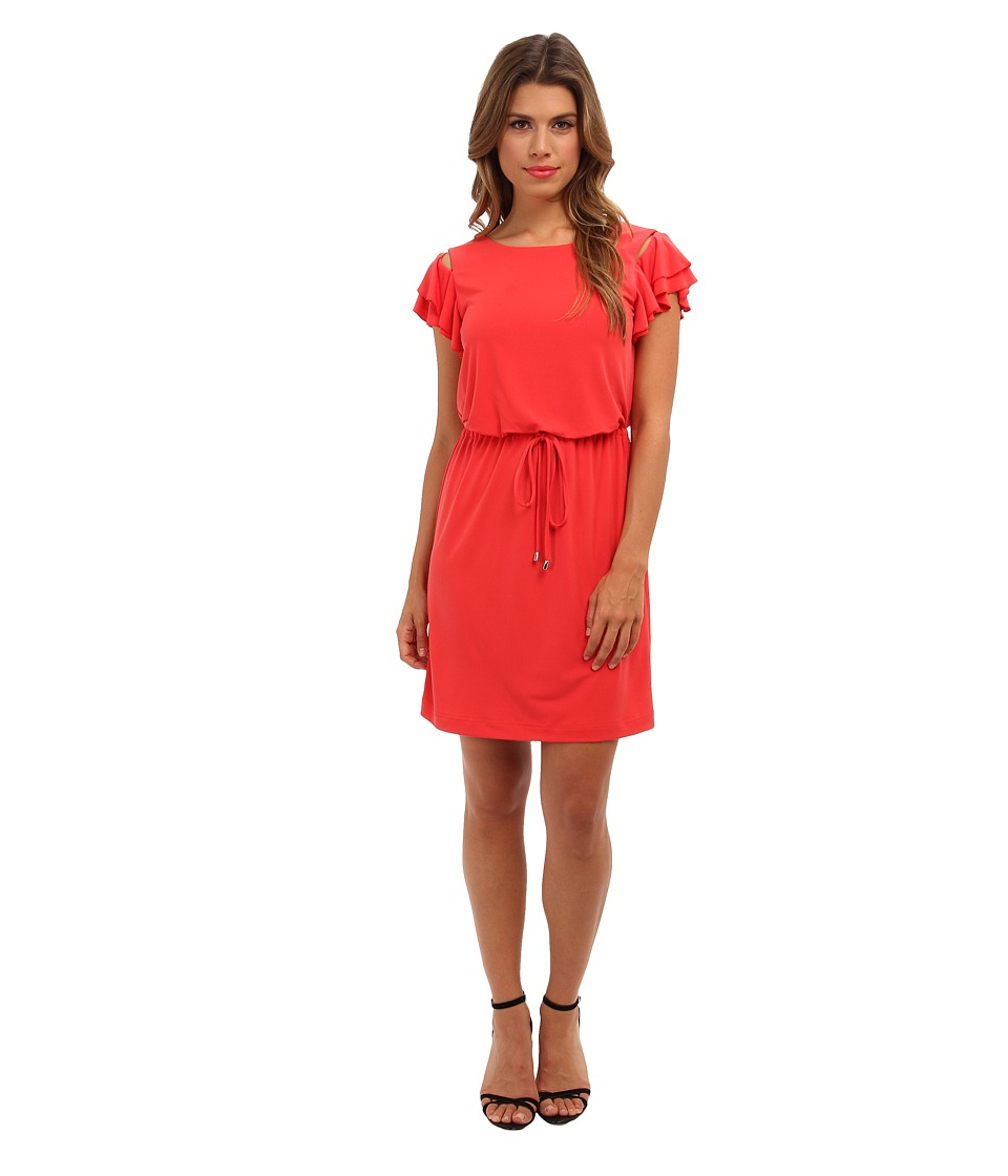 Jessica Simpson - Dress w/ Elastic Waistband w/ Self Tie and Buttoned Flared Tiered Short Sleeves (Poppy) Women's Dress