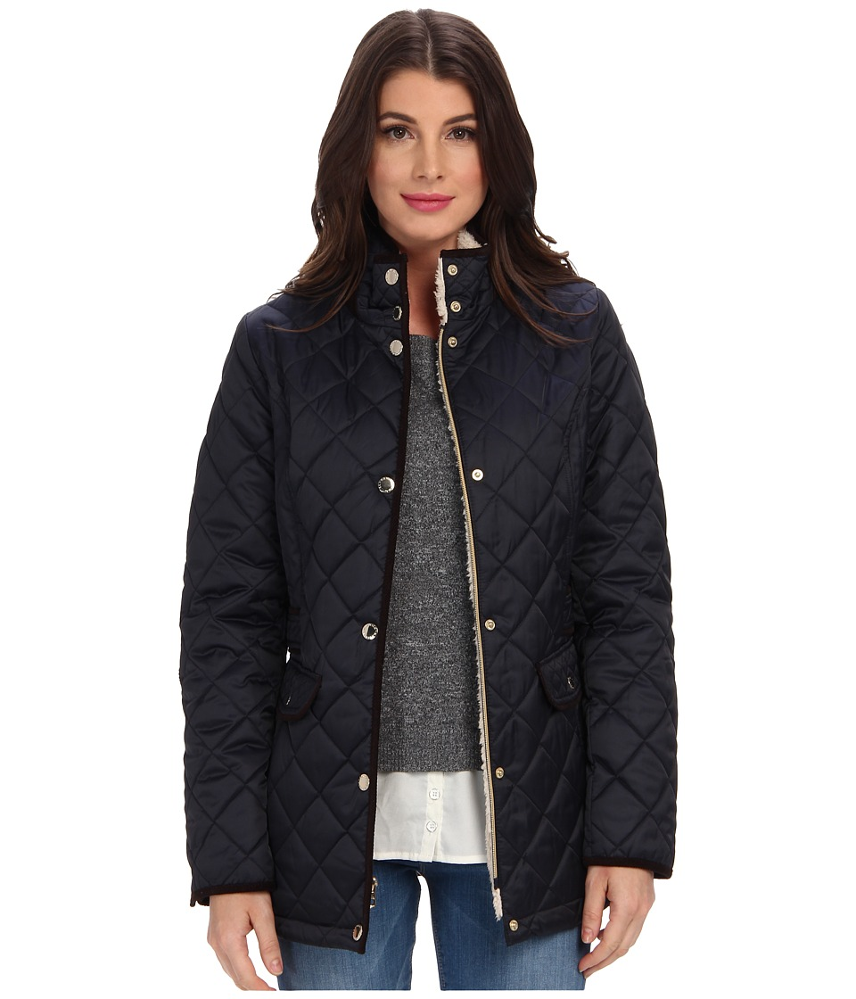 Nautica - Faux Shearling Funnel-Neck Quilted Coat EQ820319 (Mystic Blue) Women's Coat