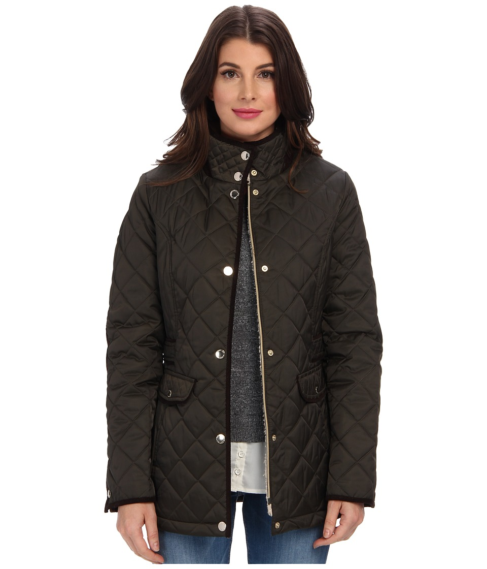 Nautica - Faux Shearling Funnel-Neck Quilted Coat EQ820319 (Military Green) Women's Coat