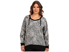 DKNY Jeans Plus Size Animal Print Hooded Tunic Top (Smoke Grey Heather)