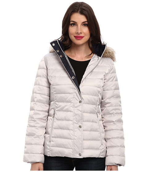 Nautica - Hooded Faux Fur Trim Quilted Down Coat EQ820306 (Pebble/Mystic Blue) Women's Coat