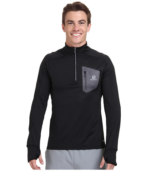 Salomon - Trail Runner Warm L/S Zip Tee (Black/Dark Cloud) Men