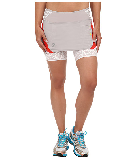 Salomon - S-Lab EXO Twinskin Skort (Aluminium/Racing Red/White) Women