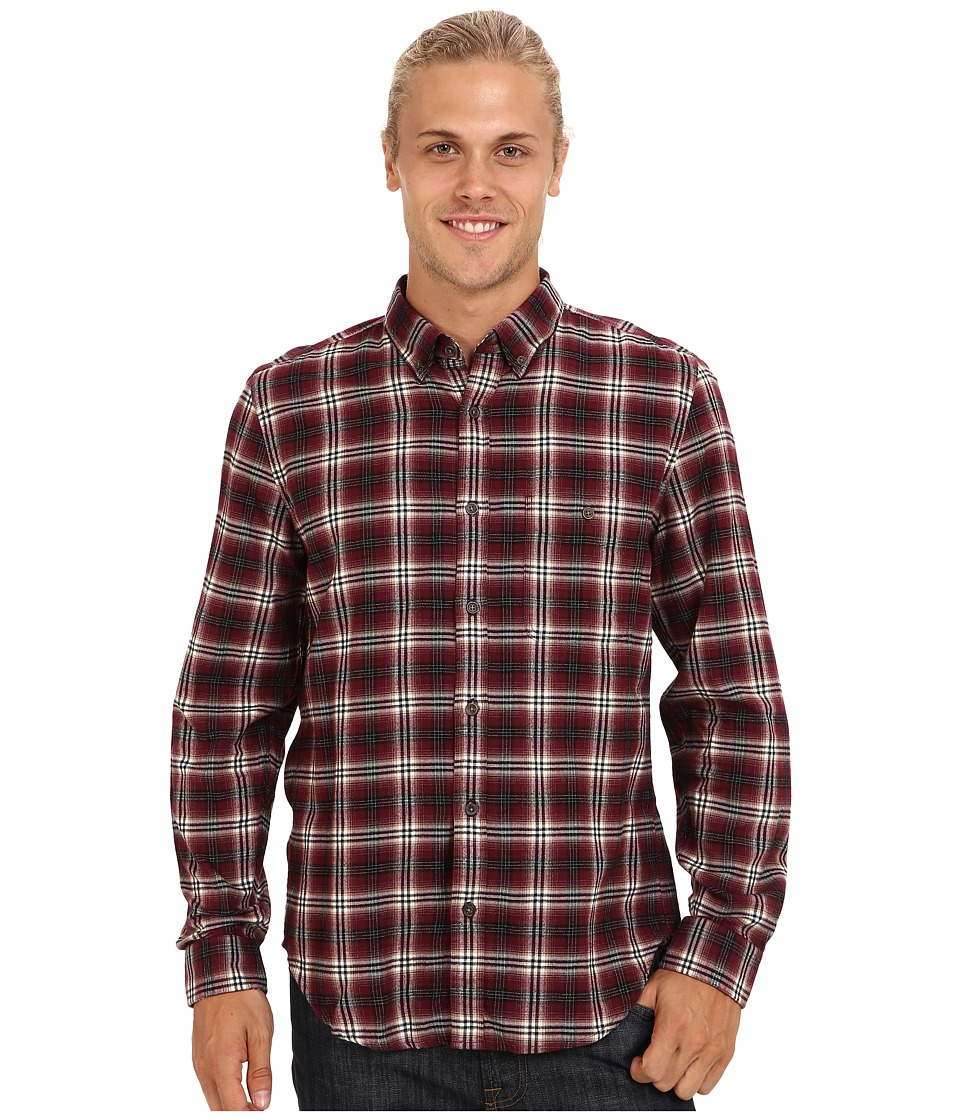 7 For All Mankind - Plaid Oxford Shirt (Crimson) Men's Long Sleeve Button Up