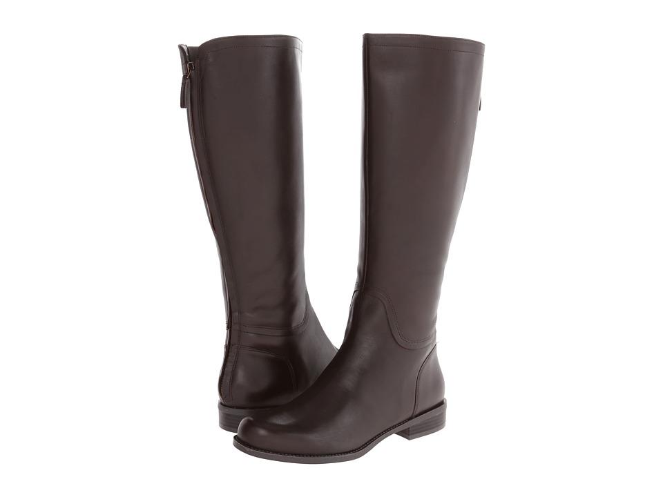 Nine West - Contigua Wide Calf (Dark Brown Leather) Women's Zip Boots