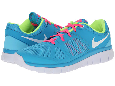 Nike Kids - Flex 2014 Run (Big Kid) (Clearwater/Blue Lagoon/Pink Pow/White) Girls Shoes