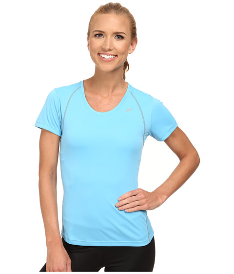 ASICS - Lite-Show Favorite Short Sleeve (Natural Blue) Women's T Shirt