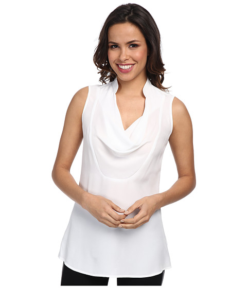 NIC+ZOE - Drape Neck Layer Textured Crepe (Paper White) Women