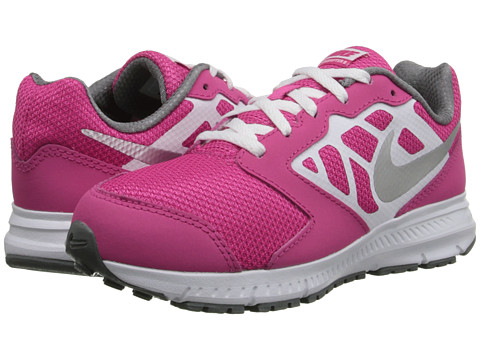 Nike Kids - Downshifter 6 (Little Kid/Big Kid) (Hot Pink/White/Cool Grey/Metallic Silver) Girls Shoes