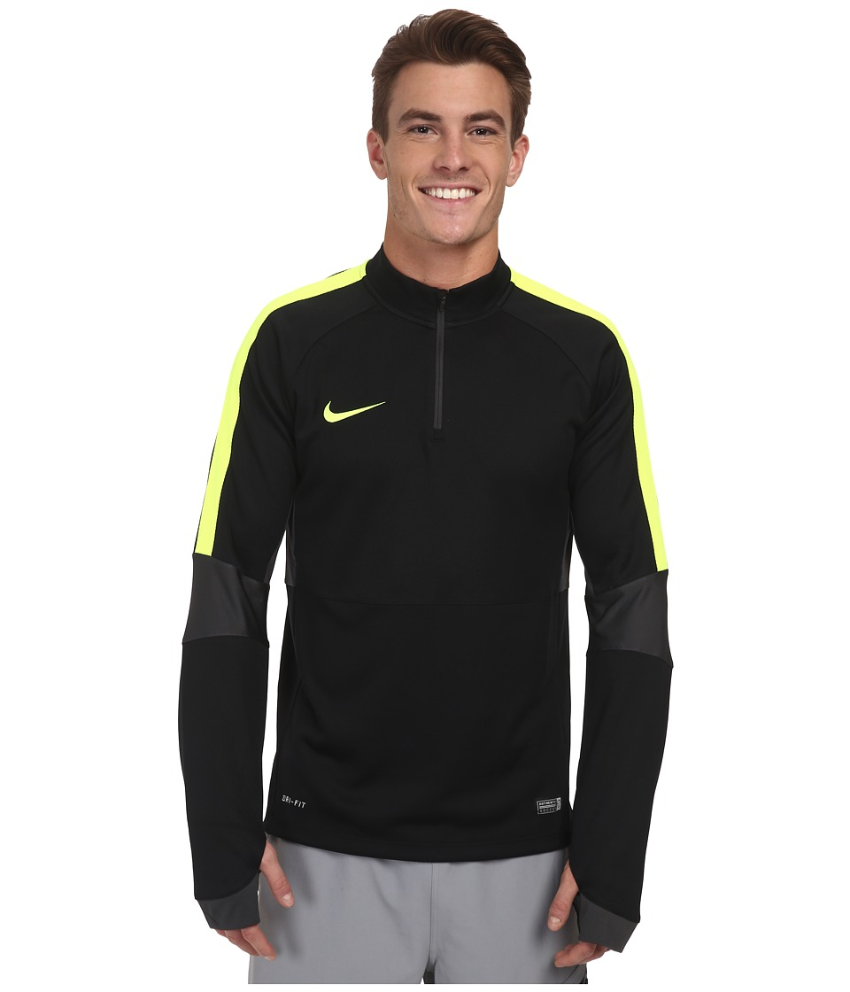Nike - Squad Ignite L/S Midlayer Top (Black/Anthracite/Volt/Volt) Men