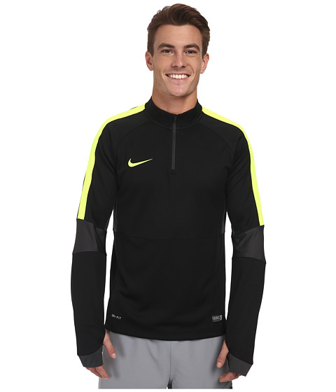 Nike - Squad Ignite L/S Midlayer Top (Black/Anthracite/Volt/Volt) Men's Long Sleeve Pullover