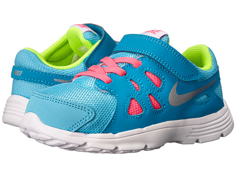Nike Kids - Revolution 2 (Infant/Toddler) (Clearwater/Blue Lagoon/Volt/Metallic Silver) Girls Shoes