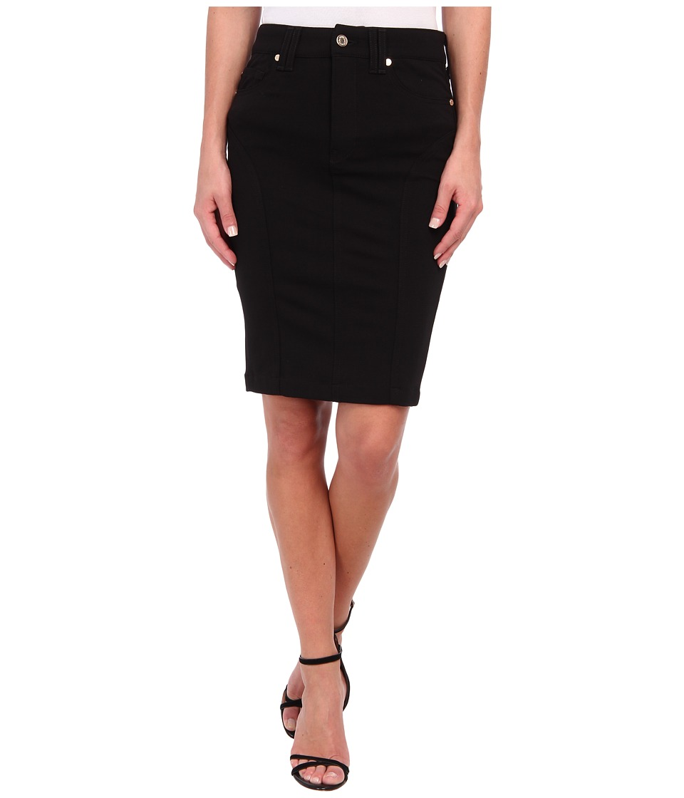 7 For All Mankind - Fashion High Waist Seamed Doubleknit Pencil Skirt in Black Doubleknit (Black Doubleknit) Women's Skirt