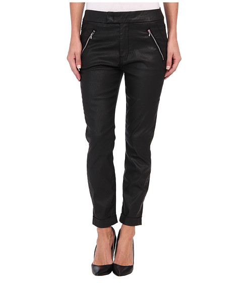 7 For All Mankind - Slant Zip Soft Pant in Black Coated Twill (Black Coated Twill) Women