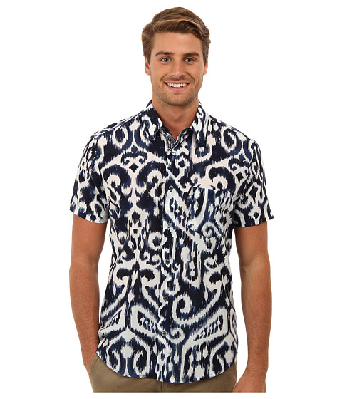 Mr.Turk - Slim Jim Shirt (Navy) Men's Short Sleeve Button Up