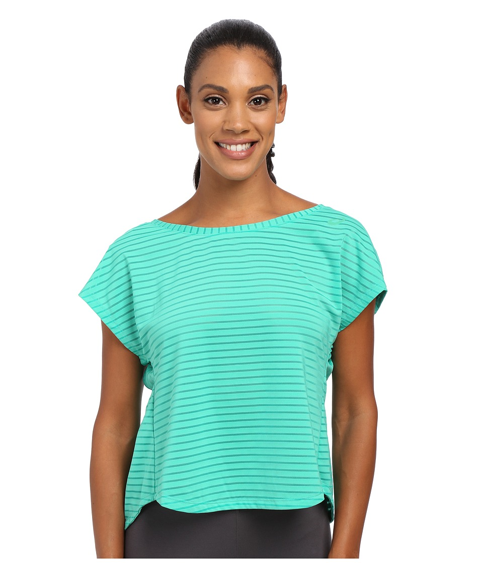 ASICS - Cleo Pop Double-Wrap Short Sleeve (Cool Mint) Women's Workout