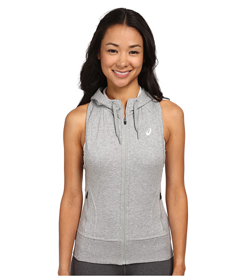 ASICS - Racerback Hoodie (Heather Grey) Women's Workout