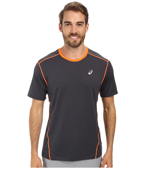 ASICS - PR Lyte Short Sleeve (Steel/Shocking Orange) Men's Workout