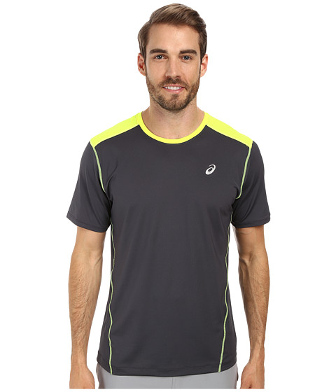 ASICS - PR Lyte Short Sleeve (Steel/Safety Yellow) Men's Workout
