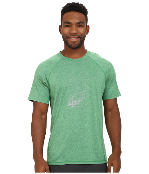 ASICS - Soukai Graphic Top (Green Gecko Heather) Men's Workout