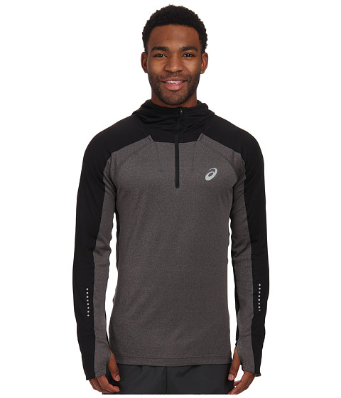 ASICS - Hooded Long Sleeve Top (Performance Black Heather) Men's Sweatshirt