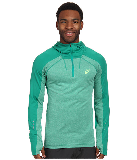 ASICS - Hooded Long Sleeve Top (Jungle Green Heather) Men
