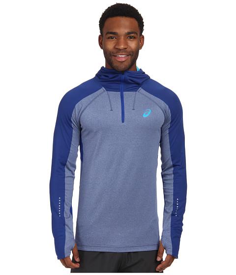 ASICS - Hooded Long Sleeve Top (Air Force Blue Heather) Men
