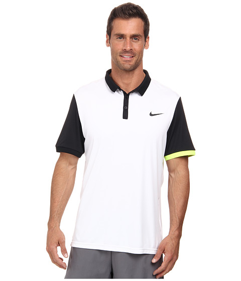 Nike - Advantage Polo Shirt (White/Black/Volt/Black) Men