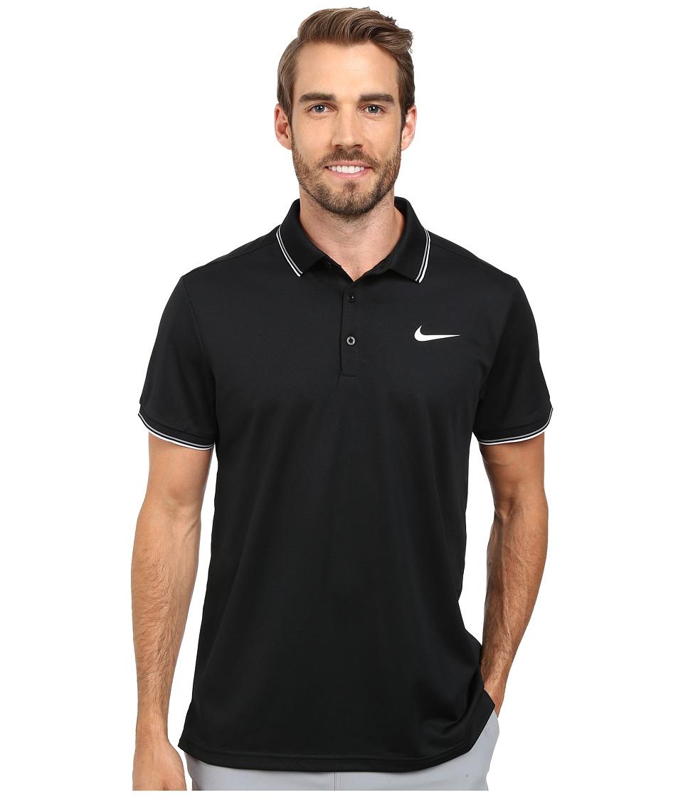 Nike - Court Polo (Black/Black/White Multi Snake) Men's Short Sleeve Pullover