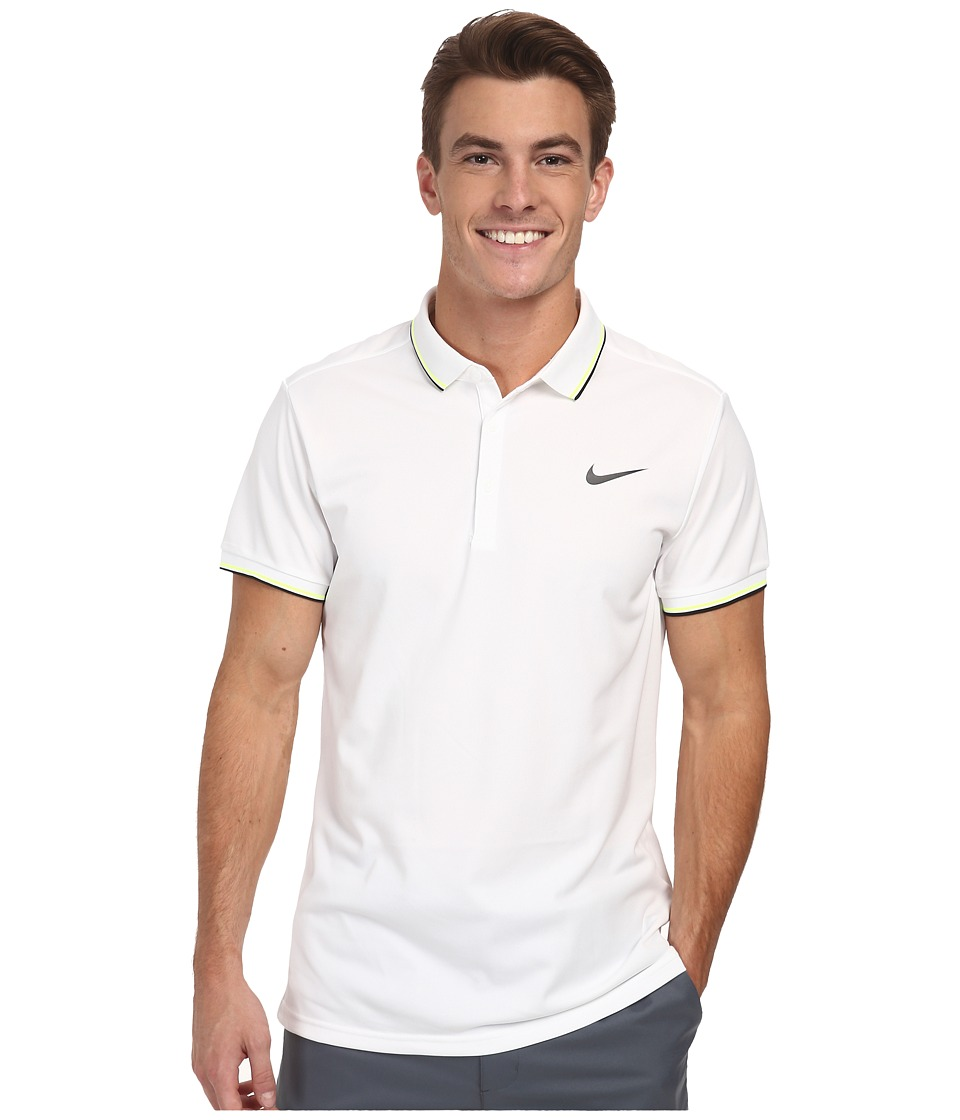 Nike - Court Polo (White/White/Black) Men's Short Sleeve Pullover