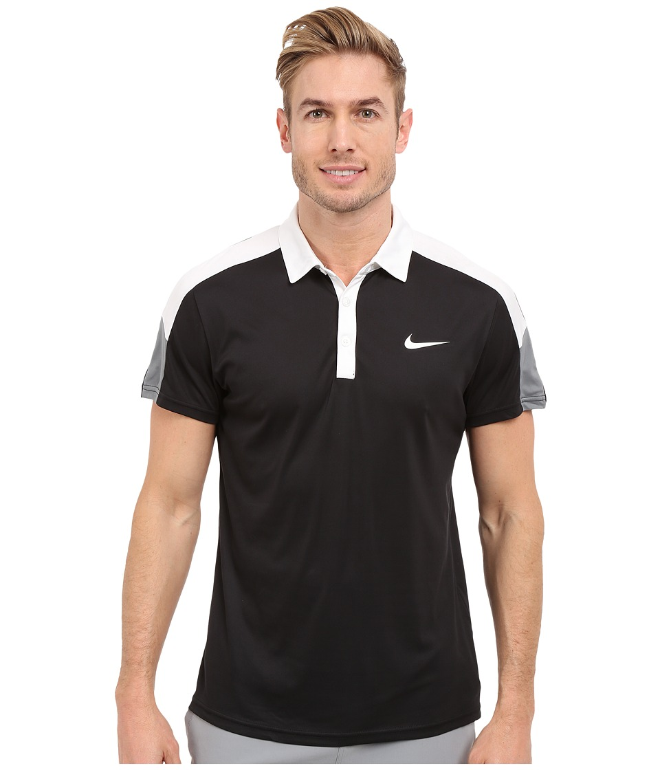 Nike - Team Court Polo (Black/White/Cool Grey/White) Men's Short Sleeve Pullover