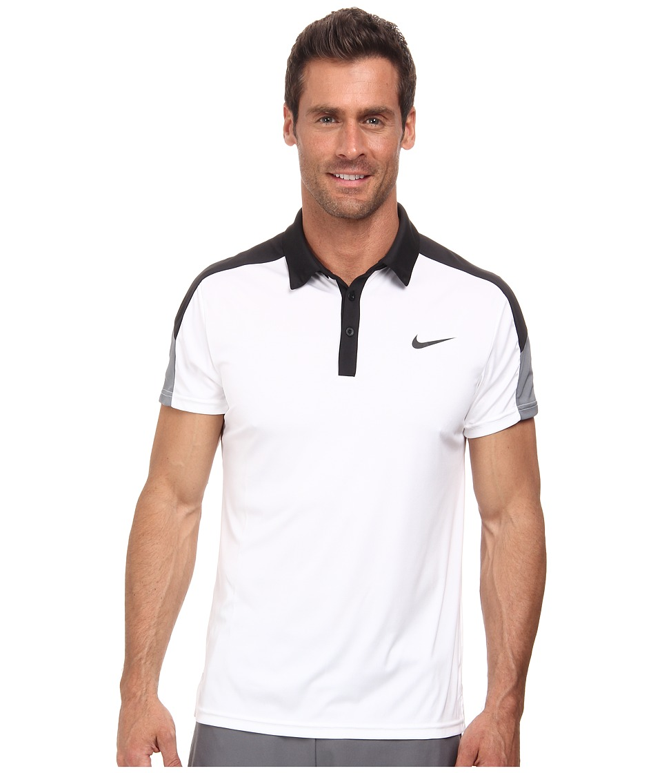 Nike - Team Court Polo (White/Black/Cool Grey/Black) Men's Short Sleeve Pullover