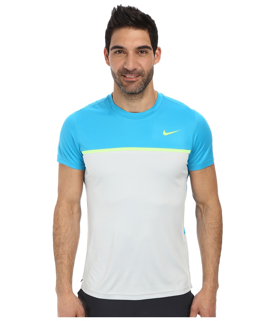 Nike - Challenger Crew (Blue Lagoon/Grey Mist/Flash Lime/Flash Lime) Men's T Shirt