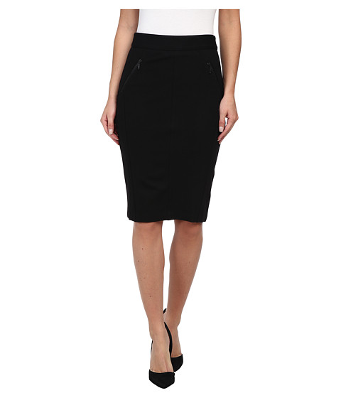NYDJ - Double Zip Ponte Skirt (Black) Women