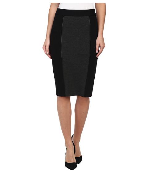NYDJ - Zip Waist Ponte Skirt (Black/Heather Charcoal) Women