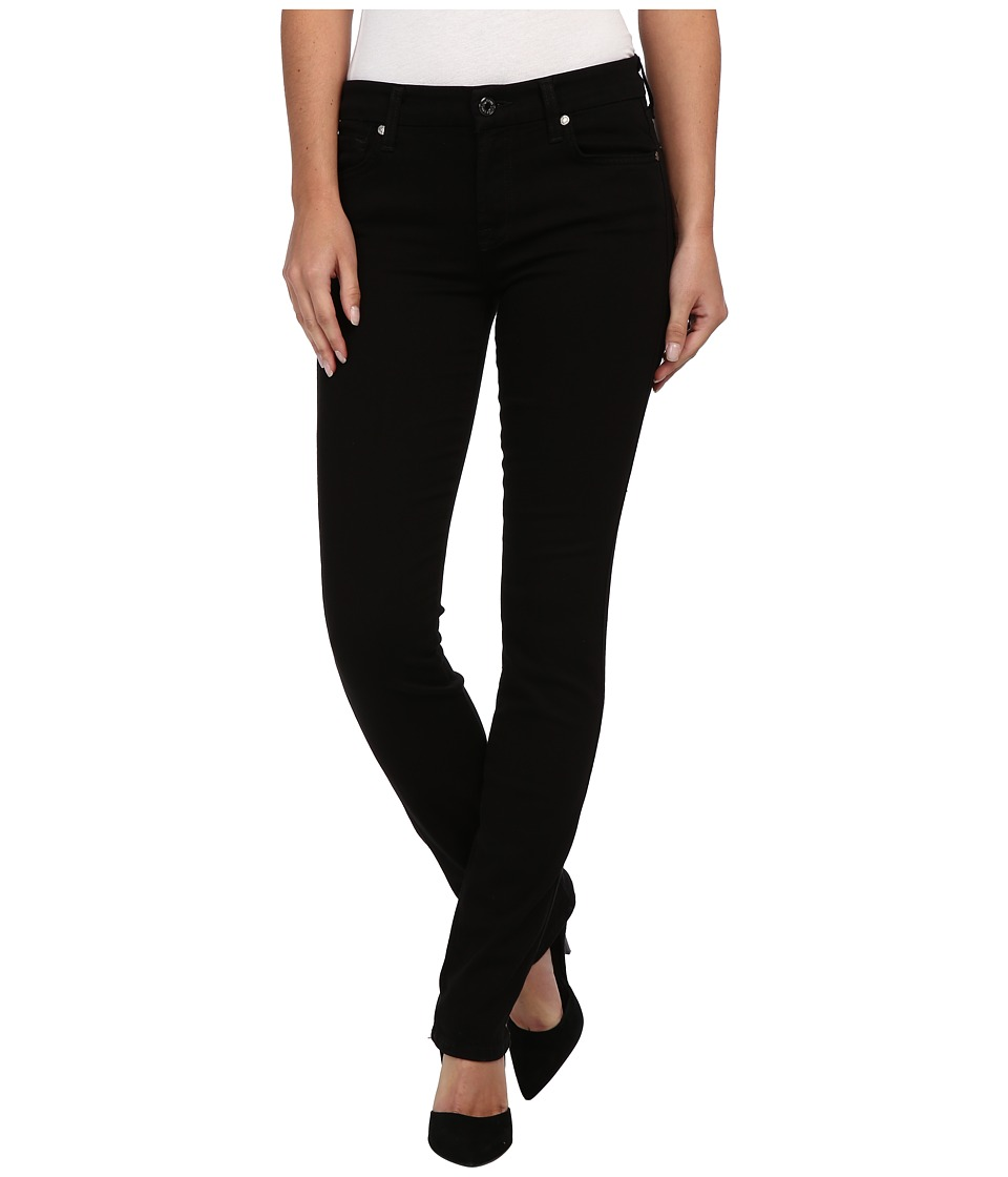7 For All Mankind - Slim Illusion LUXE Kimmie Straight in Slim Illusion Luxe Black (Slim Illusion Luxe Black) Women's Jeans