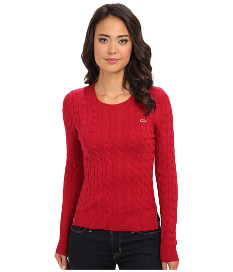 Lacoste - L/S Cotton Cable Crewneck Sweater (Lacquer) Women