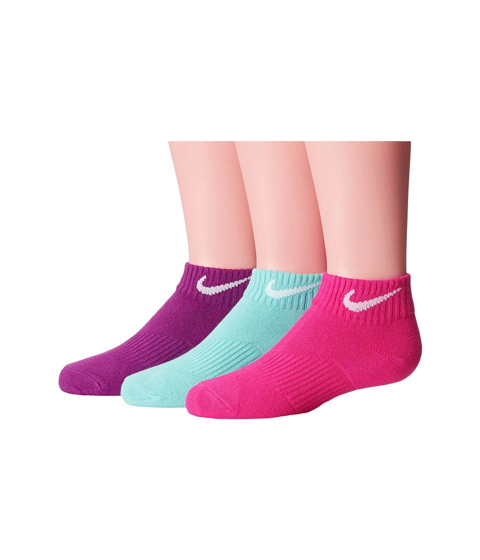 Nike Kids - Lightweight Cotton Cushion Low Cut 3-Pair Pack (Toddler/Little Kid/Big Kid) (Hot Pink/Light Anthracite/Bold Berry) Kids Shoes