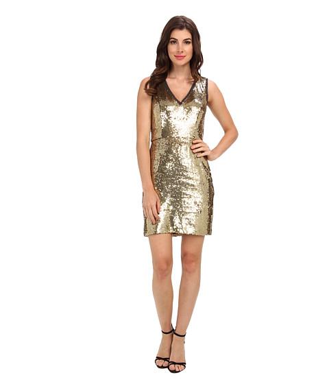 Nicole Miller - Raw Edge Sequin Dress (Gold) Women