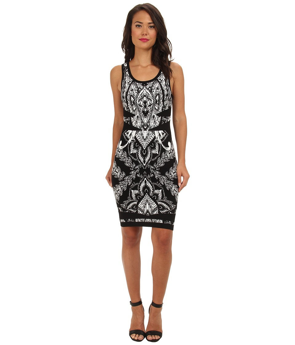 Nicole Miller - Caged Bird Double Knit Dress (Black/White) Women's Dress