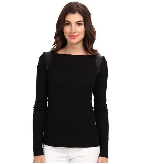 Nicole Miller - Leather Trim Ribbed L/S Top (Black) Women's Long Sleeve Pullover